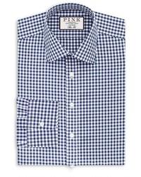 Camisa de vestir de cuadro vichy en blanco y azul marino de Thomas Pink