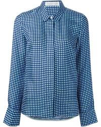 Camisa de vestir de cuadro vichy en blanco y azul marino de Victoria Beckham