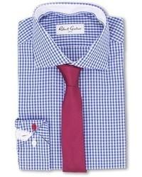Camisa de vestir de cuadro vichy en blanco y azul