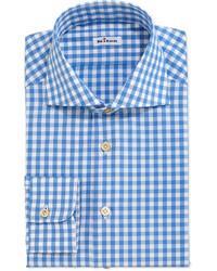 Camisa de vestir de cuadro vichy en blanco y azul de Kiton