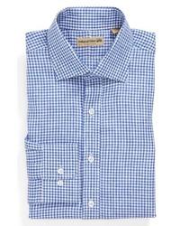 Camisa de vestir de cuadro vichy en blanco y azul de Natural Blue
