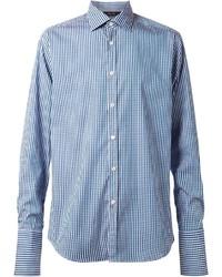 Camisa de vestir de cuadro vichy en blanco y azul de Paul Smith