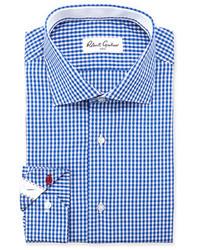 Camisa de vestir de cuadro vichy en blanco y azul de Robert Graham