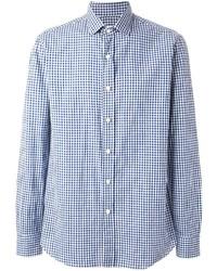 Camisa de vestir de cuadro vichy en blanco y azul de Salvatore Piccolo