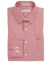 Camisa de Vestir de Cuadro Vichy en Blanco y Rojo