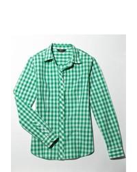 Camisa de vestir de cuadro vichy en blanco y verde
