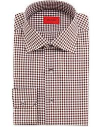 Camisa de vestir de cuadro vichy marrón