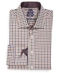 Camisa de vestir de cuadro vichy marrón de English Laundry