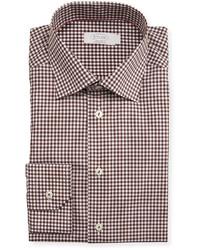 Camisa de vestir de cuadro vichy marrón de Eton