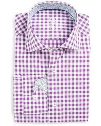 Camisa de vestir de cuadro vichy morado de Bugatchi