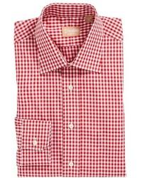 Camisa de vestir de cuadro vichy roja