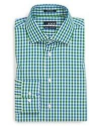 Camisa de vestir de cuadro vichy verde