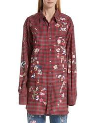 Camisa de vestir de franela de tartán roja