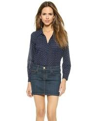 Camisa de vestir de gasa a lunares azul marino de Joie
