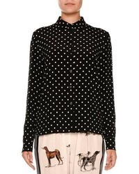 Camisa de Vestir de Gasa a Lunares en Negro y Blanco de Stella McCartney