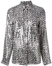 Camisa de Vestir de Gasa de Leopardo Blanca de Diesel