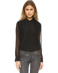 Camisa de vestir de gasa negra de DKNY