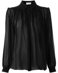 Camisa de vestir de gasa negra de Saint Laurent