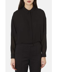 Camisa de vestir de gasa negra de Topshop