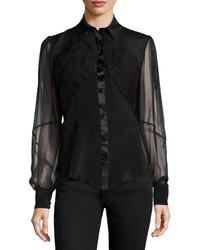 Camisa de vestir de gasa negra de Zac Posen