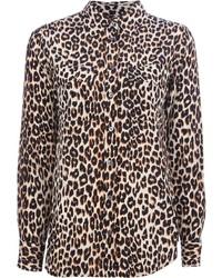 Camisa de vestir de leopardo marrón claro