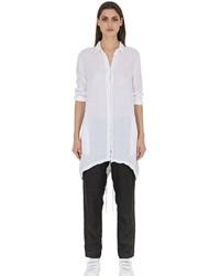 Camisa de vestir de lino blanca