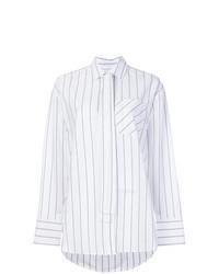 Camisa de vestir de rayas verticales blanca
