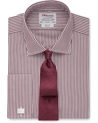 Camisa de vestir de rayas verticales burdeos