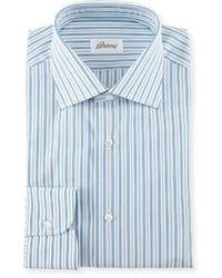 Camisa de vestir de rayas verticales celeste de Brioni