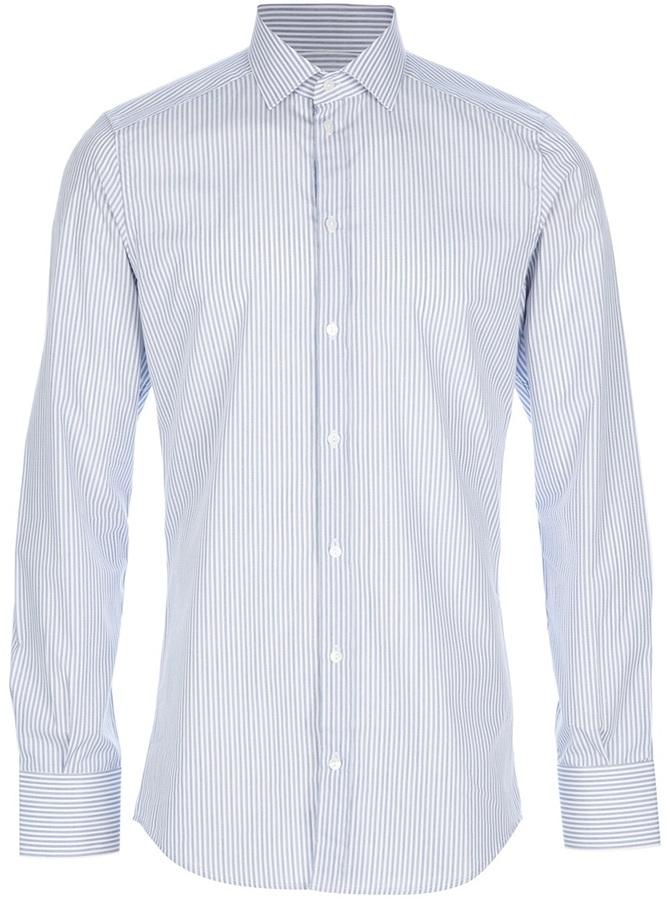 Camisa de vestir de rayas verticales celeste de Dolce & Gabbana