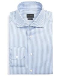 Camisa de vestir de rayas verticales celeste de Ermenegildo Zegna