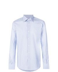 Camisa de vestir de rayas verticales celeste de Fashion Clinic Timeless