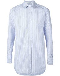 Camisa de vestir de rayas verticales celeste de Victoria Beckham