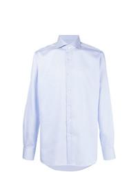 Camisa de vestir de rayas verticales celeste de Xacus