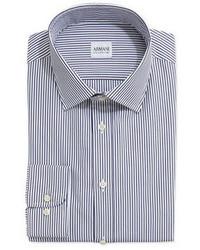 Camisa de vestir de rayas verticales en blanco y azul marino de Armani Collezioni