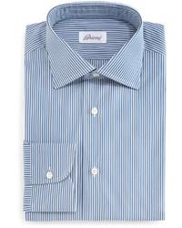 Camisa de vestir de rayas verticales en blanco y azul marino de Brioni