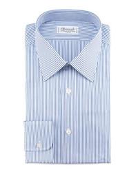 Camisa de vestir de rayas verticales en blanco y azul marino de Charvet