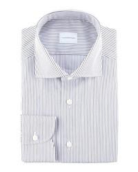 Camisa de vestir de rayas verticales en blanco y azul marino de Ermenegildo Zegna