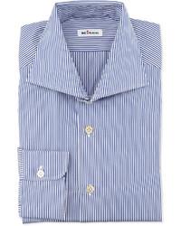 Camisa de vestir de rayas verticales en blanco y azul marino de Kiton