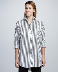 Camisa de vestir de rayas verticales en blanco y negro