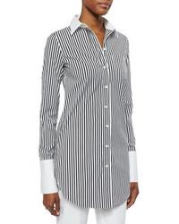 Camisa de vestir de rayas verticales en blanco y negro de Michael Kors