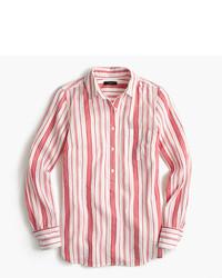 Camisa de vestir de rayas verticales en blanco y rojo de J.Crew