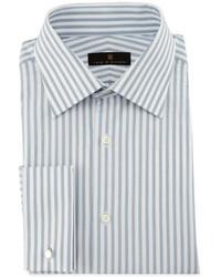 Camisa de vestir de rayas verticales gris de Ike Behar