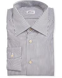 Camisa de vestir de rayas verticales gris de Kiton