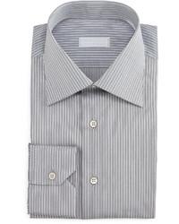 Camisa de vestir de rayas verticales gris de Stefano Ricci