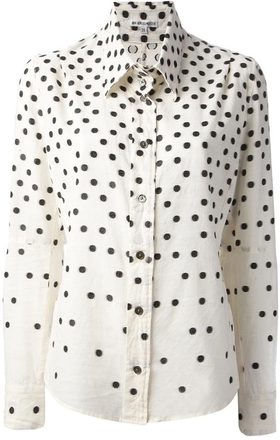 Camisa de vestir de seda a lunares blanca de Ann Demeulemeester