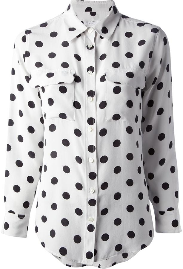 Camisa de vestir de seda a lunares blanca de Equipment