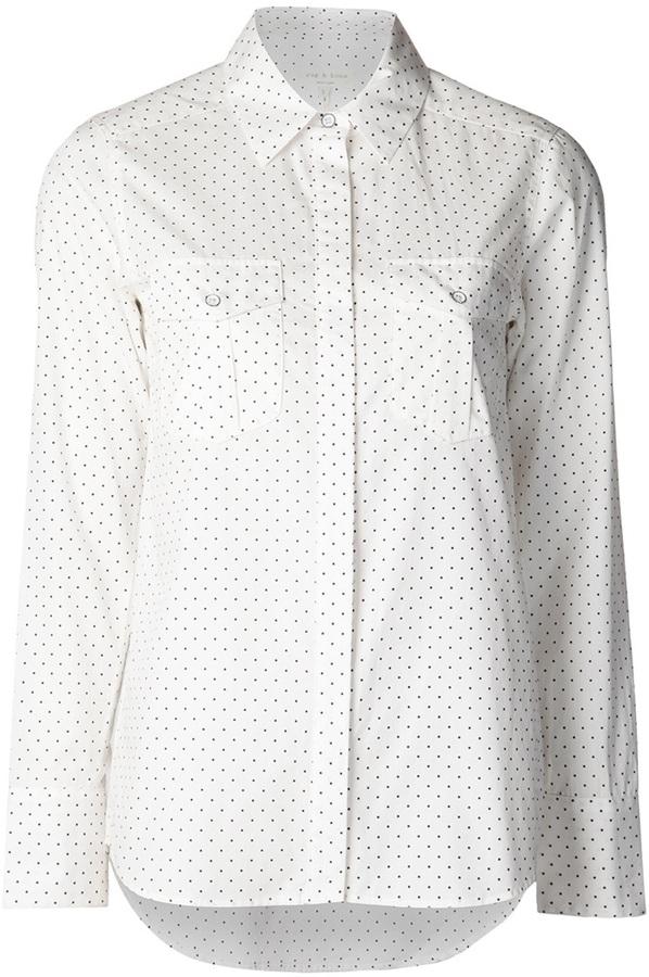 Camisa de vestir de seda a lunares blanca de Rag and Bone