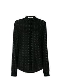 Camisa de vestir de seda a lunares negra de Saint Laurent