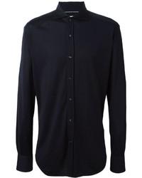 Camisa de vestir de seda azul marino